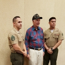 Sgt Ivan P. Hammond World War II Iwo Jima Veteran with two Marines from the I&I of Houston